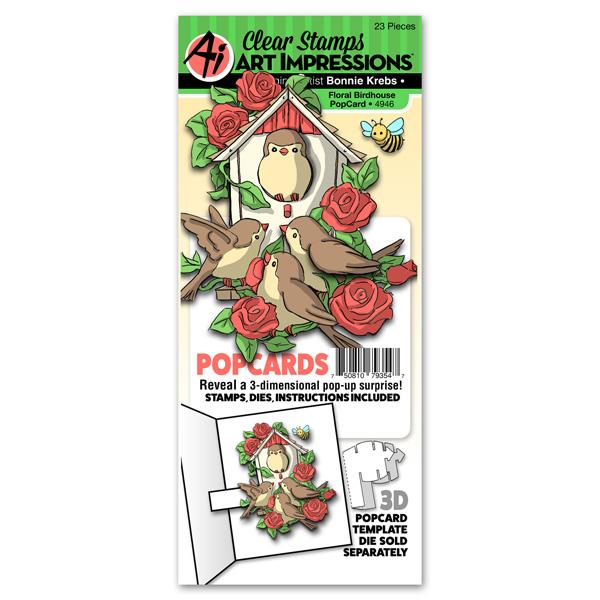 4946 - Floral Birdhouse PopCard
