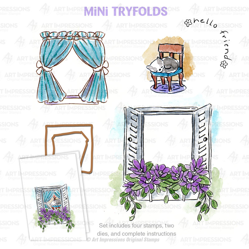 Art Impressions Garden Window Tryfold Stamp and Die Set