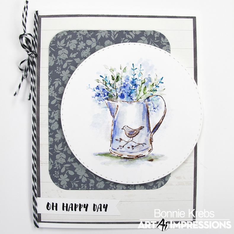 Art Impressions 5123 Watercolor Cling Rubber Stamps-Decorative Jar
