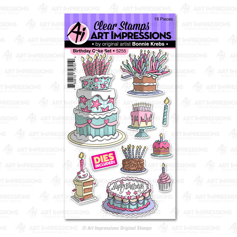 Admirable 5255 Birthday Cake Set Art Impressions Personalised Birthday Cards Paralily Jamesorg